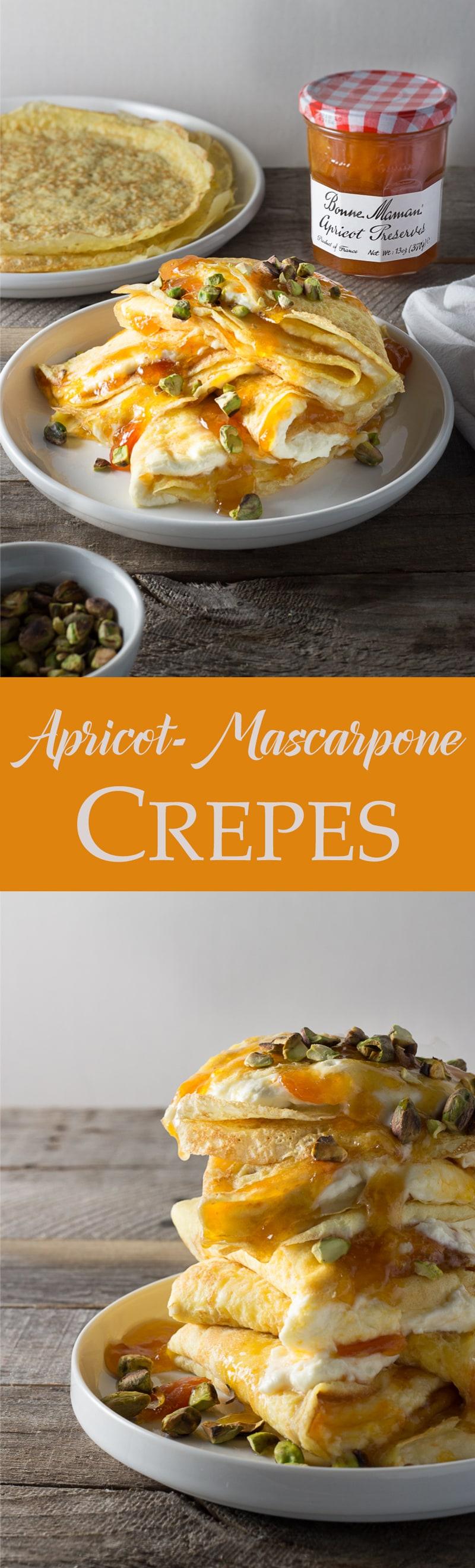 Crepes with Apricot & Whipped Mascarpone Filling | brinasbites.com @Brina's Bites