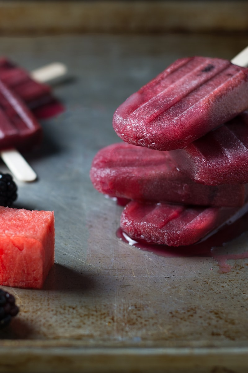 Blackberry Watermelon Popsicles | Brinasbites.com @Brina's Bites