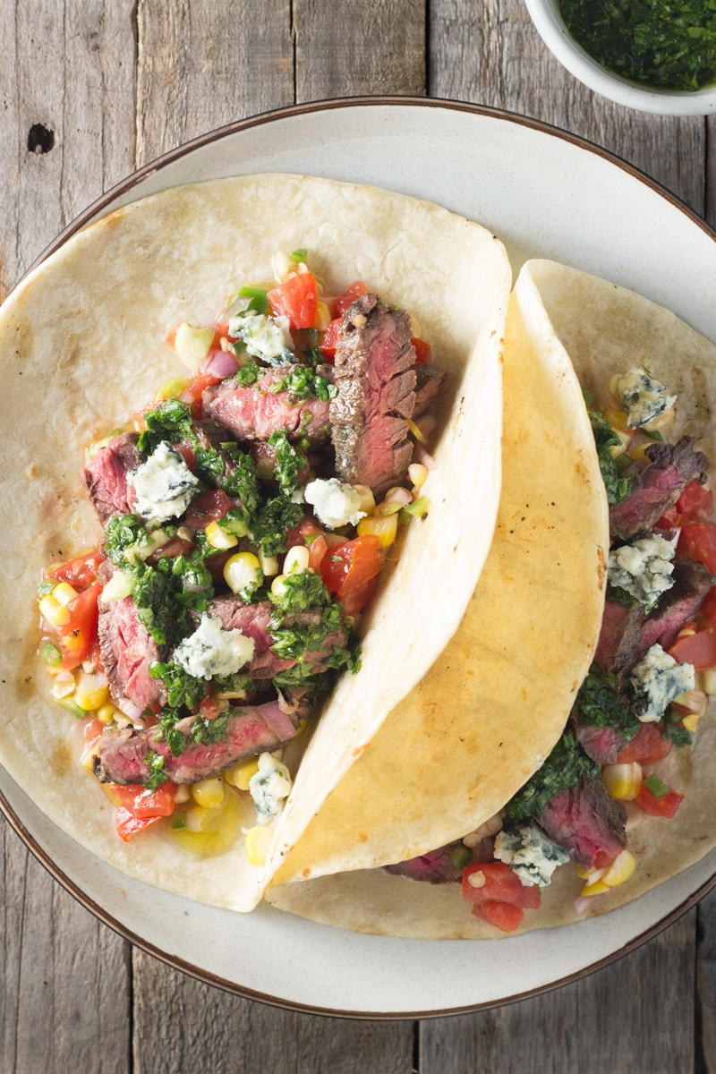 Skirt Steak Chimichurri Tacos with Charred Corn Pico de Gallo | Brinasbites.com @Brina's Bites