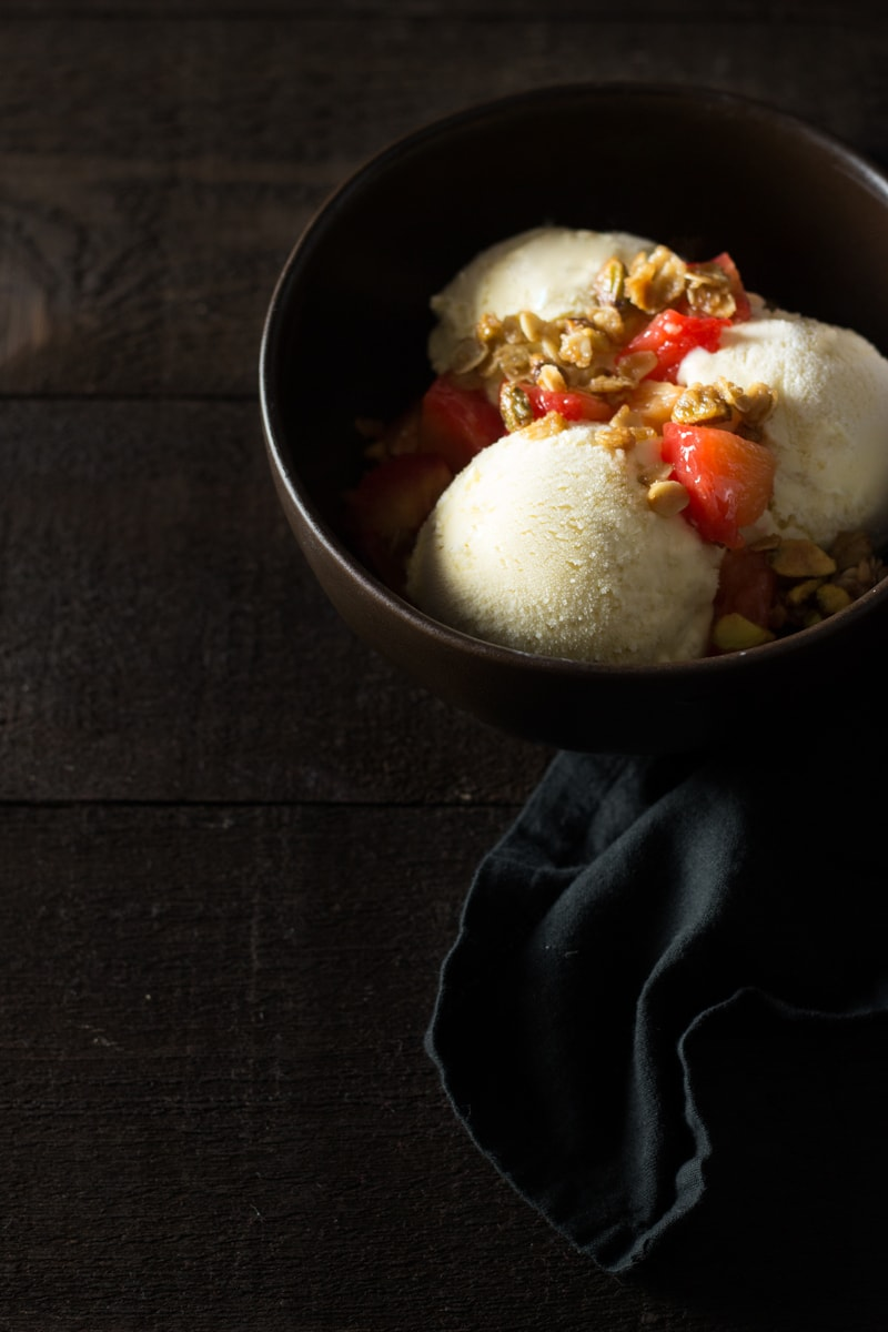 Cardamom Honey Ice Cream with Roasted Plums & Pistachio Granola   Brinasbites.com @Brina's Bites