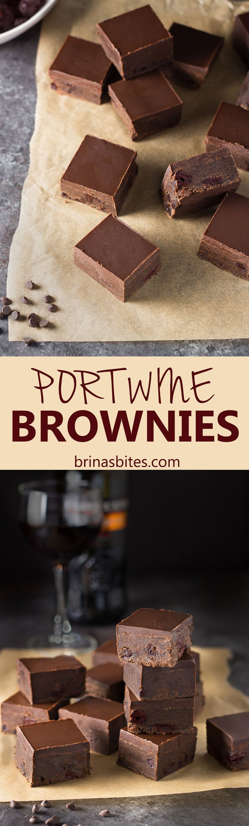 Fudgy Port Wine Brownies with Ganache & Drunken Cherries