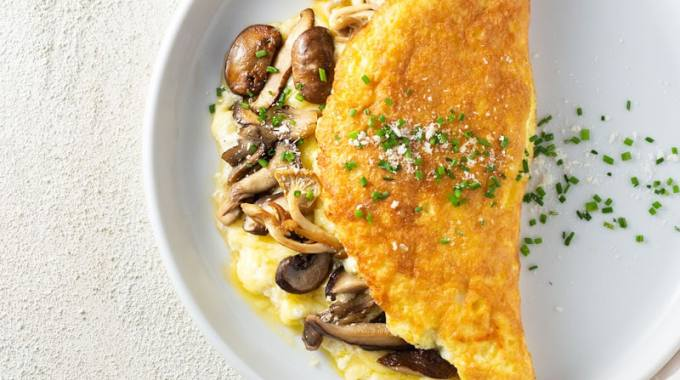 Souffle Omelet with Gruyere & Mushrooms