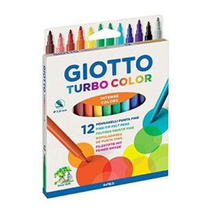 Cx. c/12 canetas de feltro Turbo Color - Giotto