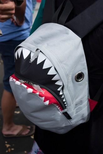 Adorable shark backpack. I want one!
