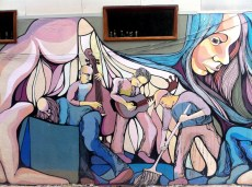 Musicians! The neutral colors and organic lines gives this mural a great feeling.