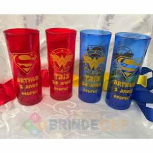 Copos Long Drink Personalizados Thais 30 anos Tema: Mulher Maravilha e Superman