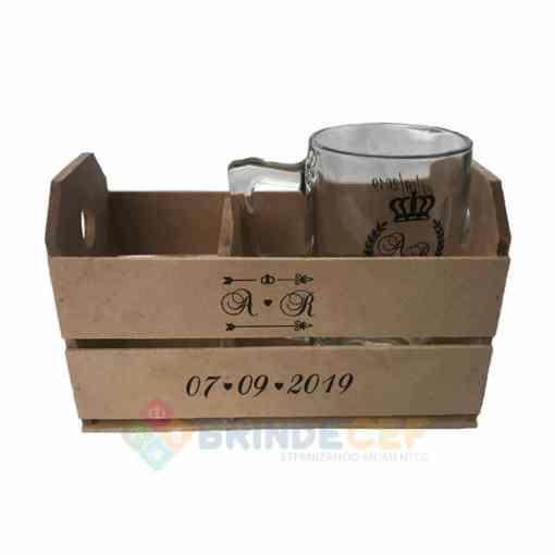 Kit Caixote de MDF +1 Caneca de Vidro modelo Taberna 340ml personalizados para Brindes