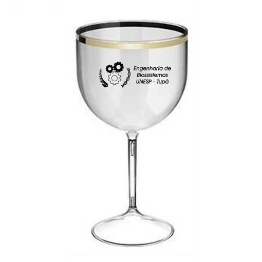 Taça de Gin de Acrílico Borda Metaliz 475ml Personalizada
