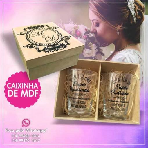 Kit de Caixinha de Mdf com 2 copos de vidro caldereta