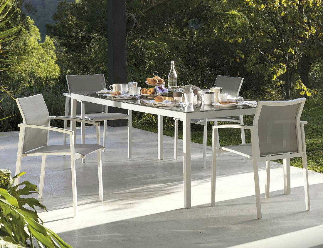 6 Chaises De Jardin En Aluminium Et Textilène