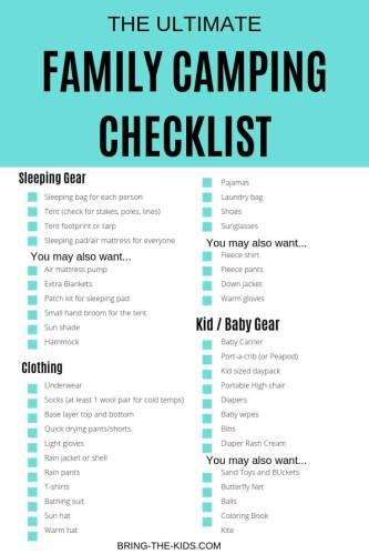camping checklist printable checklist