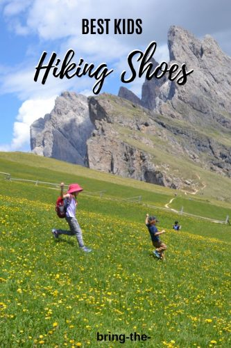 kids running down mountain, hiking shoes