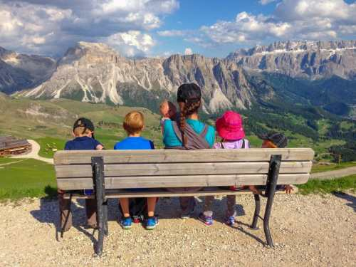 dolomites view with kids