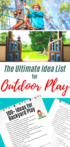 Outdoor Play Ideas - Printable List