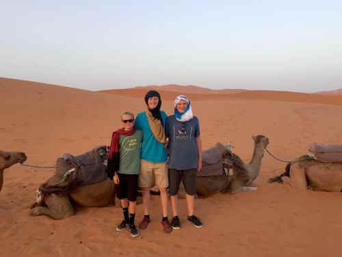 camel riding morocco  with teens