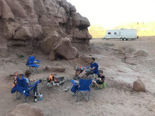 family smores at goblin valley