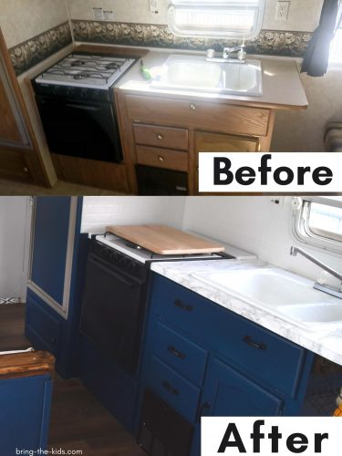 before after kitchen counters RV