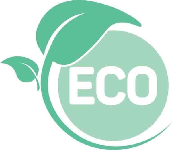 Eco-friendly icon a leaf around a circle that says eco