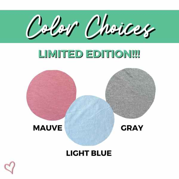 Color choices limited edition colors circle with shirt colors include mauve, light blue, and gray