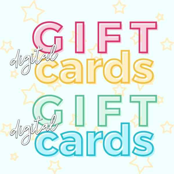 Digital gift cards written in various fonts and colors