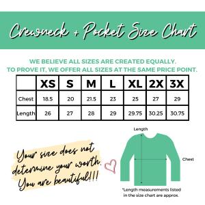 Crewneck Sweatshirt with Pocket Size Chart