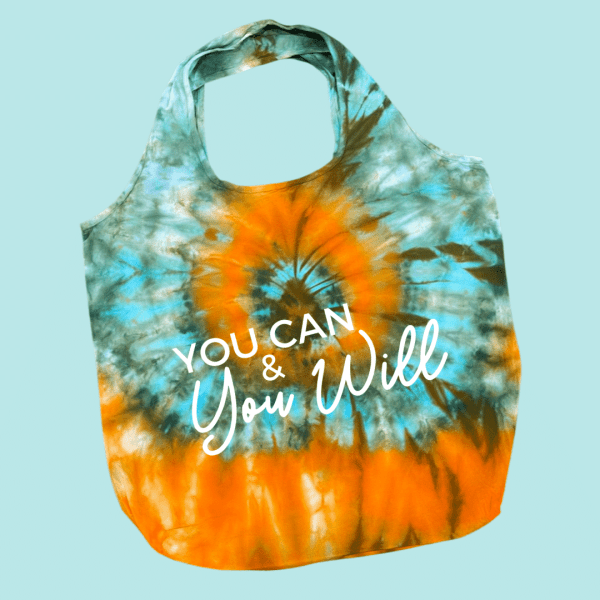 Green and Yellow tie dye bag with You Can & You Will written in white