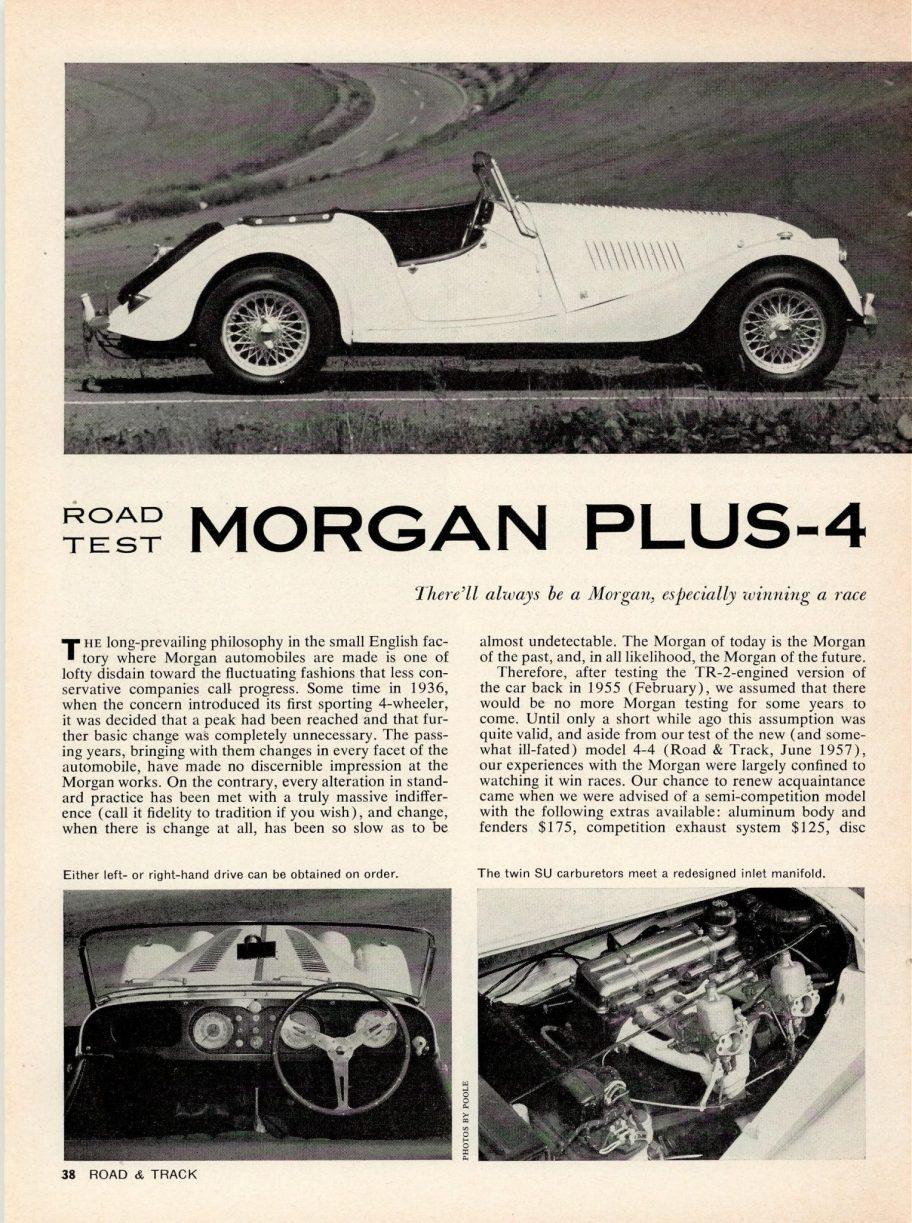 Road & Track Road Test: 1960 Morgan Plus-4