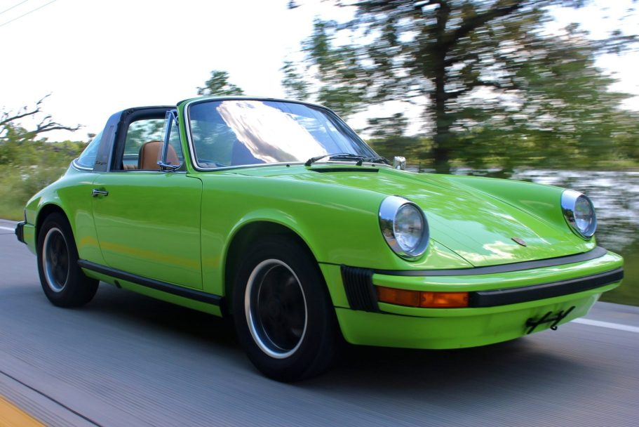 No Reserve: Lime Green 1974 Porsche 911 Targa