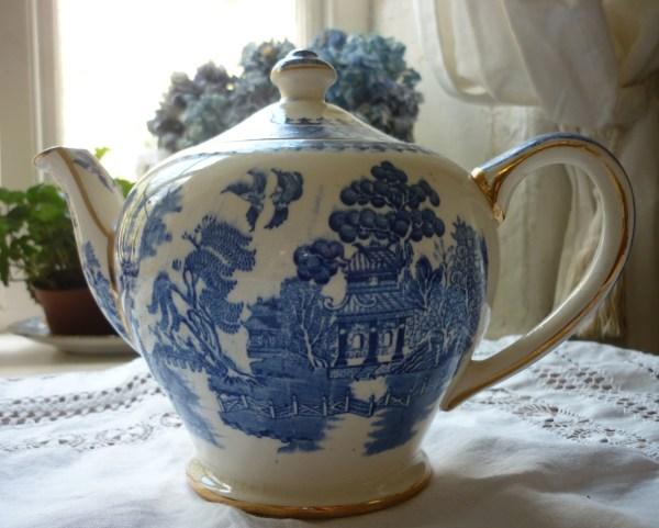 Antique Blue & White Willow Tea Service