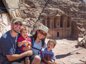Kevin and family a Petra in Jordan