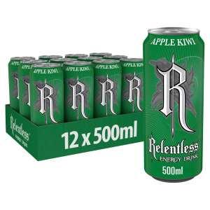 Relentless Apple & Kiwi Energy Drink Cans
