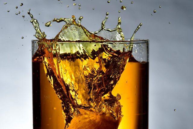 Whisky Splashing into a glass