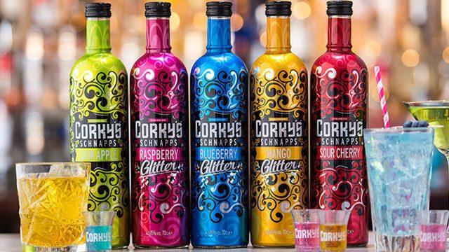 Corky's Glitter Schnapps Bottles in a row