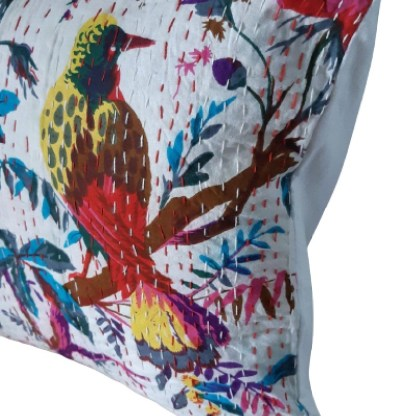 White bird cushion on angle