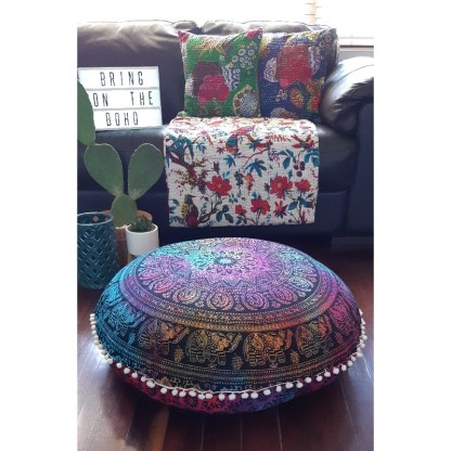 boho living room floor cushions, throw, cushions on couch