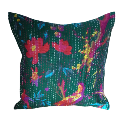 green tropical print scatter cushion