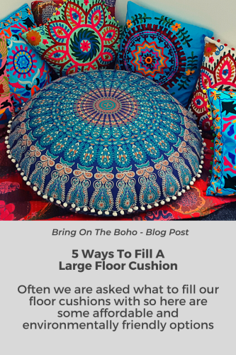 Blog post image - boho round floor cushion and scatter cushions
