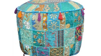Boho blue patchwork foot stool