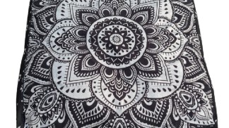 Black White Silver Mandala pattern on a large square floor cushion