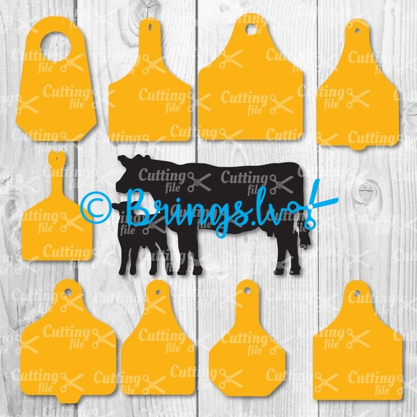 Cow Ear Tags SVG DXF PNG Cut Files