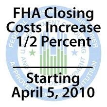 FHA closing costs increase by 1/2 percent April 5 2010