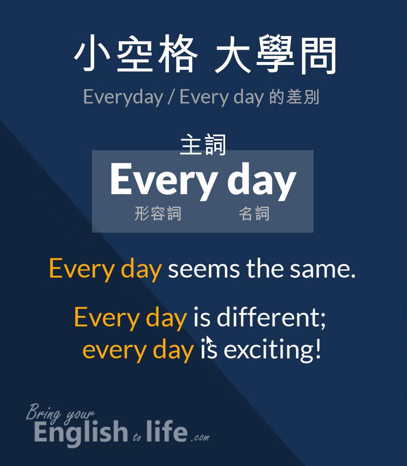 小空格大學問 (Everyday or Every day)|詞性大不同 - 活化英文