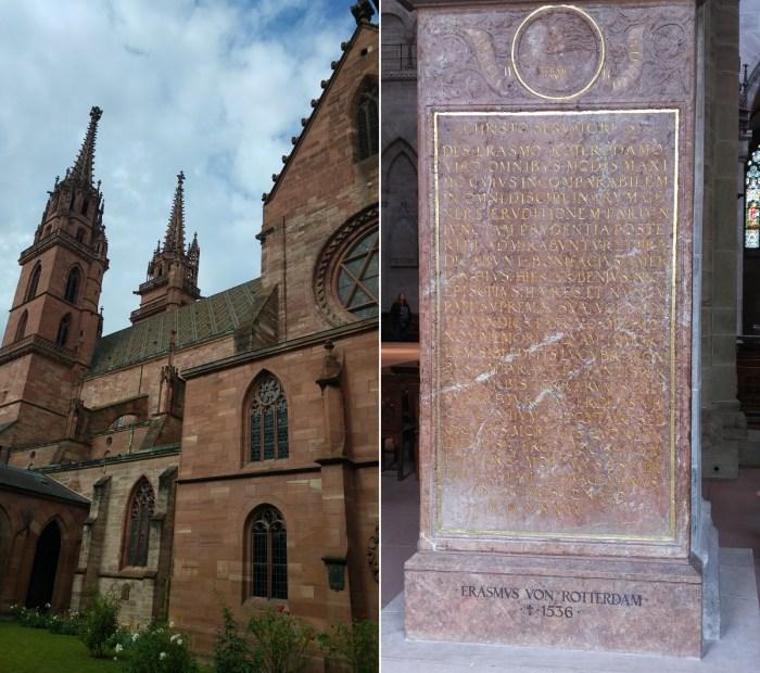 Basler Münster (rechts). Erasmus Epitaph (links).