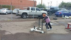 Pushing a sled on her 102 birthday!
