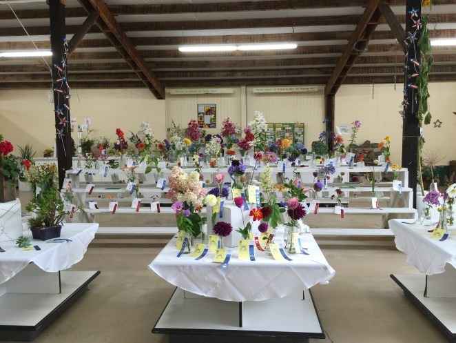 The area with the flower arrangements
