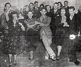 Swing Contestants Swing IT: Seen swinging into action are Lillian Arnold and Lawrence Wise, Mary McCaslin and Maxie Dorf, and Venna Cascon and Gil Fernadez who have been prominent contestants in the current Paramount Theater/ Los Angeles evening news Swing Contes