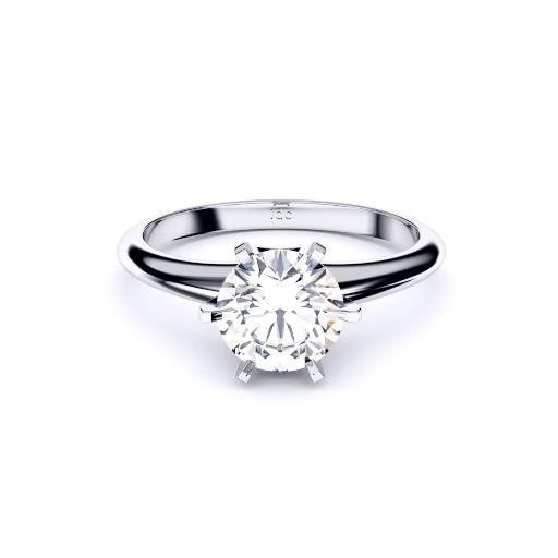 Brisbane diamond engagement ring 6 claw solitaire in white gold