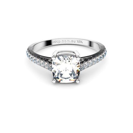 Brisbane diamonds cushion solitaire with diamond set band