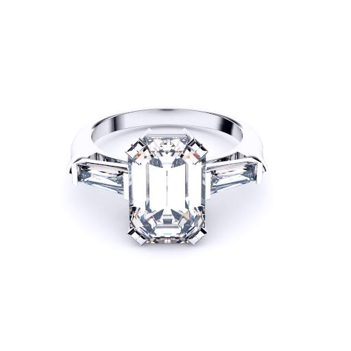 Emeral Cut with Tapered Baguettes diamond engagement 3 stone ring Brisbane Diamond Company