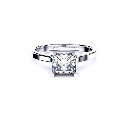 Brisbane diamonds princess cut solitaire ring in white gold